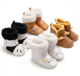2019 chaussures en crochet Bébé boulon bottes filles dessin animé animaux broderie arcs doux chaussures enfant en bas âge enfants toison épaissir neige bottes hiver infantile chaussures chaudes F1586 chaussures en crochet pas cher