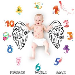 Wholesale angle photography - 14 Styles 2018 New Newborn Toddler Infant Cartoon Baby Angle Wing Flower Blanket for Photography Photo Prop Shoots 100*100cm Props