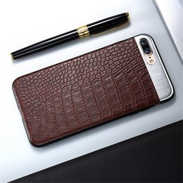 Wholesale plastic crocodiles - PU Leather Phone Case For Iphone X Crocodile Stripe Metal Stitching Phone Cases For Iphone 6 7 8 Plus