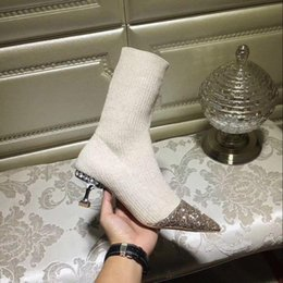 Wholesale Womens Heels Nude - 2018 sping fall Womens Grey black nude beige stretch Fabric knit Rhinestones mid heel shiny Glitter Pointed Toes pull on socks ankle boots