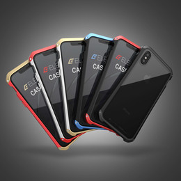 Wholesale Hybrid Steel - Hybrid Armor For iphone 10 Metal framed glass steel case High Quality Hard Shockproof case cover for iphone 7 8 plus 2 in 1 Retail Package