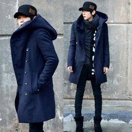 Billige lange wollmäntel online-ZEESHANT Fashion Cheap Herren Pea Coat Mit Kapuze Zweireihiger Langer Baumwoll-Trenchcoat Herren Mantel in Men's WoolBlends