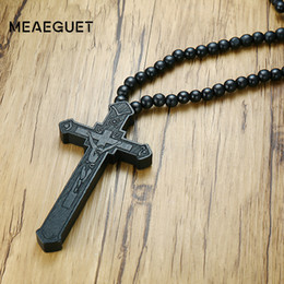 Wholesale Large Stainless Steel Cross Necklace - whole saleMeaeguet Large Wood Catholic Jesus Cross With Wooden Bead Carved Rosary Pendant Long Collier Statement Necklace Men Jewelry