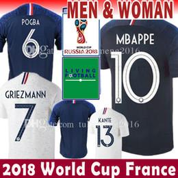 Wholesale France Soccer Shirt - France Soccer Jersey 2018 world cup 7 Griezmann 10 Mbappe 6 Pogba football shirt 8 Lemarl 13 Kante 9 GIRQVD Umtiti Varane Uniforms Fo