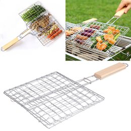 Wholesale new fishing net - New BBQ Grilled Outdoor Barbecue Tools Grilled Fish Clip Roast Meat Hamburger Net Environment Barbecue Accessories with Wood Crank WX9-590