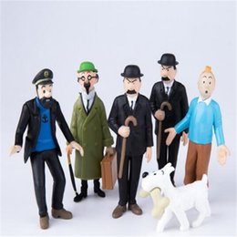 Juguetes de colección online-Figuras de anime Juegos de muñecas The Adventures of Tintin PVC Figura de acción de dibujos animados Modelo de juguete para niños de regalo