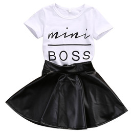 Wholesale Toddler Girls Fashion Clothes - 2018 New Fashion Toddler Kids Girl Clothes Set Summer Short Sleeve Mini Boss T-shirt Tops + Leather Skirt 2PCS Outfit Child Suit