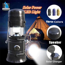 Wholesale Solar Speakers - LED Camping Lantern Portable Wireless Bluetooth Speakers Multi-functional Outdoor Tent Light Solar Power Bank with USB TF Card FM Radio