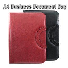 Wholesale Ring File Folder - A4 Portfilio Business Manager Document Bag Zipper Leather File Folder Organizer Brief Case with Handle Zipper