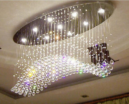 chrome art deco Promo Codes - luxury LED 6   9 Light Crystal Wave Chandelier curtain modern chandeliers crystal lamp living room chandeliers lamp hotel droplighting light