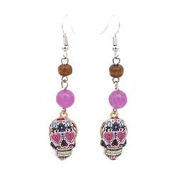 Stein perlen ohrring online-Mode Silber Bali Stil Schädel Naturstein Perle baumeln Ohrringe für Frauen Geschenk Schmuck