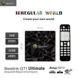Конечная коробка онлайн-Beelink конечной коробка TV ГТ1 Андроид 7.1 коробка Amlogic S912 восьмиядерный 5G с WiFi с Bluetooth с 3G и 32 ГБ медиа-плеер набор 4К приставке
