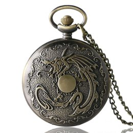 Wholesale Cool Pocket Watches - Retro Bronze Cool Fire Dragon Pocket Watch Fob Necklace Chain Quartz Clock Gifts Children Vintage Hours Watches for Men Women