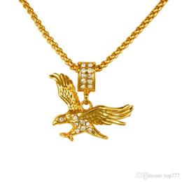 Wholesale Men Gold Eagle Necklace - 2018 Hip Hop Fashion Design New Vintage Golden Eagle Pendant Necklaces Cool Men Women's Animal Hawk Pendants Golden Necklaces