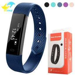 Wholesale Wrist Clocks - 115 Smart Bracelet Fitness Tracker Step Counter Activity Monitor Band Alarm Clock Vibration Wristband for iphone With DayDay APP