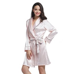 Hot Beige Short Silky Robe Gown Sexy Satin Sleepwear Turn-Down Collar  Nightdress Female Casual Negligee Nightdress Kimono L-XXL c637a6f35