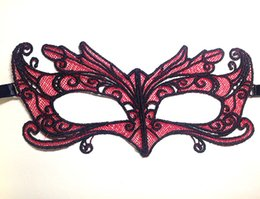 Wholesale fox films - 200 Pcs Lace Eye Mask Sexy Angel Red Parrot Fox Lace Mask Party Ball Mysterious Mask Carnival Masquerade Party Favors (not stereotypes)