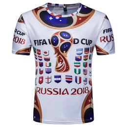 Wholesale Flag Tees - FIFA World Cup Men Top Clothes Commemorate Short T Shirt O-neck National Flag Printed Longlines Short Sleeves Tee
