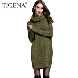 c3de889dbcd5 TIGENA 2018 Winter Fashion Turtleneck Long Sweater Dress Women Jumper  Tricot Knitted Pullovers and Sweaters Female Pull Femme