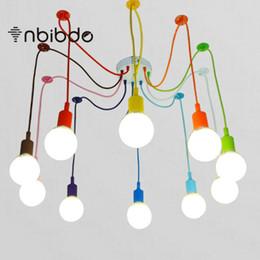 многоцветный подвесной светильник Скидка Красочные подвесной светильник 10 голов разноцветные силиконовые E27 искусство подвесные светильники для современного бара ресторан спальни торговый центр