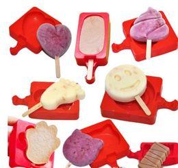 Molde de silicone caseiro on-line-Cariel Silicone Criativo Caseiro Picolé Molde Dos Desenhos Animados DIY Ice Cream Cake Mold Picolé Varas Molde wn063B