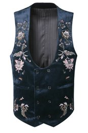 Wholesale Men Suit Design Embroidery - 2017 Men new winter embroidery double breasted velvet vest men slim flower brand design banquet party stripe casual suit vest