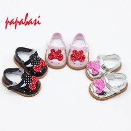 Wholesale Shoes For Dolls - 1 pair of bowknot Pu leather American Girl Doll Shoes Fits 18 Inch Doll Pu Leather Shoes as for 45CM Baby born
