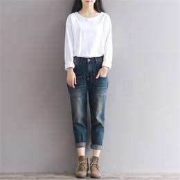 Wholesale korean style women s coat - 2017 Autumn Spring Women Jean Loose Denim Scratched Vintage Korean style Harem pant Size S-3XL Blue color