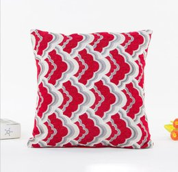 Wholesale fabric covered cushions - Spandex Fabric Cushion Cover Square Pillow Case Sea Wave Striped PillowCase Decoration Home Sofa Living Room