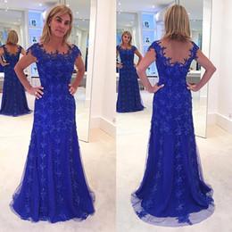 2019 vestido de noiva mãe appliqued Brilhante Elegante Azul Royal Mãe dos Vestidos de Noiva Lace Appliqued Frisada Mãe Wedding Party Dress Formal Evening Vestidos desconto vestido de noiva mãe appliqued
