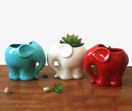 white resin elephants Promo Codes - 1Pcs Minimalist Elephant White Ceramic Planter for Succulents Decorative Succulents Pot Mini Flower Pot Home Garden Decoration