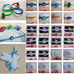 Wholesale wristband pvc - 72 Styles Kids PVC Bracelets Wristband Unicorn Animals Emoji Flag Pattern Bracelet Birthday Party Favors Children Toy Jewelry Band AAA556