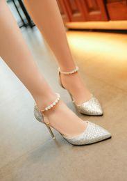 Wholesale Elastic Band Glitter - 2018 New listing women dress shoes high heels sandals Fine with women pumps beads sequins heels hollow sandals 8