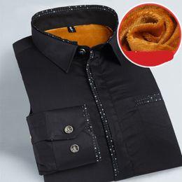 Wholesale Quality Dress Shirts Cheap - Wholesale-Fashion Male Cheap Quality winter shirt men Long Sleeve Thermal Warm Velvet padded Mens Clothing