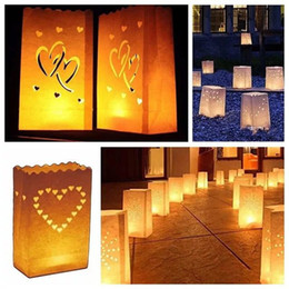 Sacchetti di carta per candele online-Wedding Heart Tea Light Holder Luminaria Lanterna di carta Candle Bag Home Regali di San Valentino Decorazioni per feste