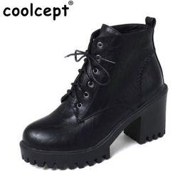 Wholesale winter short thick heel shoes - Coolcept Size 33-44 Women High Heel Boots Cross Strap Half Short Boots In Cold Winter Botas Thick Fur Shoes For Women Footwear