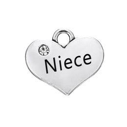 sobrina del encanto Rebajas 30 UNIDS Accesorios de BRICOLAJE Joyas de Aleación Recta Letras Pendientes En Forma de Corazón encanto NIECE Dangle Joyas