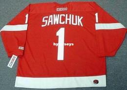 ad05aecde custom Mens TERRY SAWCHUK Detroit Red Wings CCM Home Cheap Retro Hockey  Jersey
