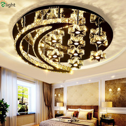 Wholesale Chrome Chandeliers - Remote Control Dimmable Chrome Chancelier For Foyer Bedroom Lustre De Crystal Plated Steel Star & Moon Design Ceiling Chandelier