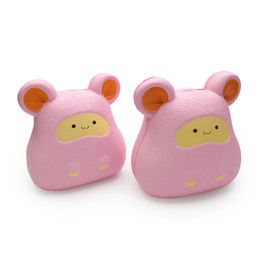 cartoon rats Coupons - Pink Squishies Kaka Rat Kawaii Squishy Cartoon Mouse Animal Squeezing Decompression Toys 10CM Slow Rebound Kids Gifts Toy