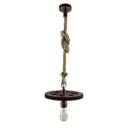 Одежда для магазина кофе онлайн-Старинные антикварные Железный веревка подвесной светильник творческий E27 промышленный ветер передач подвесной светильник для одежды магазин ресторан кафе-бар