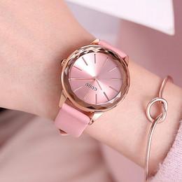Черные фиолетовые часы для девочки онлайн-2018 Top Guou  Simple Style Crystal Black White Red Purple Genuine Leather Quartz Bracelet Wrist Watch For Women Girls