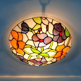 Wholesale Vintage Flower Lamp - E26 E27 Vintage Tiffany Flowers Stained Glass Flushmount Lighting Fixtures 12-inch European Tiffanylamp Ceiling Light Lamp CL329