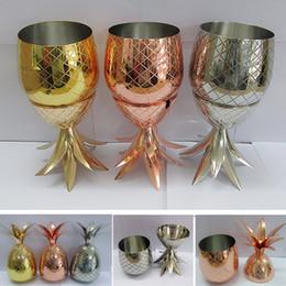 2019 pratos de festa 350 ML Abacaxi Cocktail Shaker Copo de Aço Inoxidável Banhado A Ouro Copper Caneca de Bronze de Ouro Para O Partido 12Oz WX9-352 desconto pratos de festa