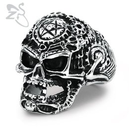 Wholesale carved stamps - Anel Masculino Punk Skull Ring Mens Gothic Carving Ring Biker Skull Jewelry Stainless Steel Rings Evil Damn Vampire Star Stamp