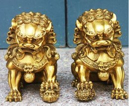 Wholesale metal lion statue - christmas decorations for home+ Wedding decoration Art collection Home Feng Shui 1Pair Brass Foo Du Dog lion statue Metal craft