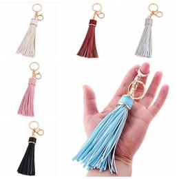 Wholesale Tassel Fringe Handbag - PU Leather Tassel Pendant Keychain Tassel Fringe Car Keyring Holder Clothes Handbag Accessories 8 Colors OOA4608