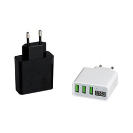 Wholesale ac current - Triple USB Port Wall Adapter Charger 5V 3A Fast Plug Chargers EU AC Plug Voltage Current Digital Display For iPhone Android Cell Phone