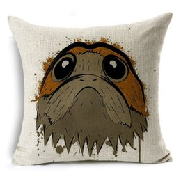 Wholesale Funny Squares - Comwarm Funny Porgs Animal Square Cute Pillow Case Linen Cotton Throw Sleeping Pillow Cover Decorative Bedroom almohadones