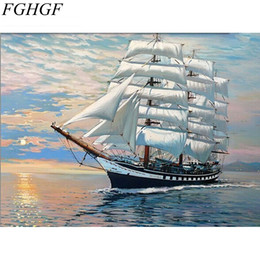 Wholesale Paint Number Kit Oils - FGHGF Sailing DIY Digital Oil Painting By Numbers Kits Coloring Painting By Numbers Unique Gift For Living Room Home Decor
